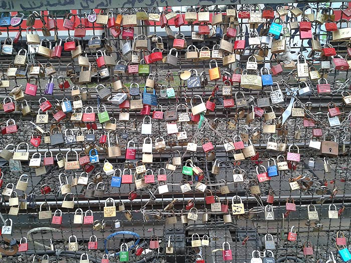 wall of love locks on the Hohenzollern Bridge, Cologne